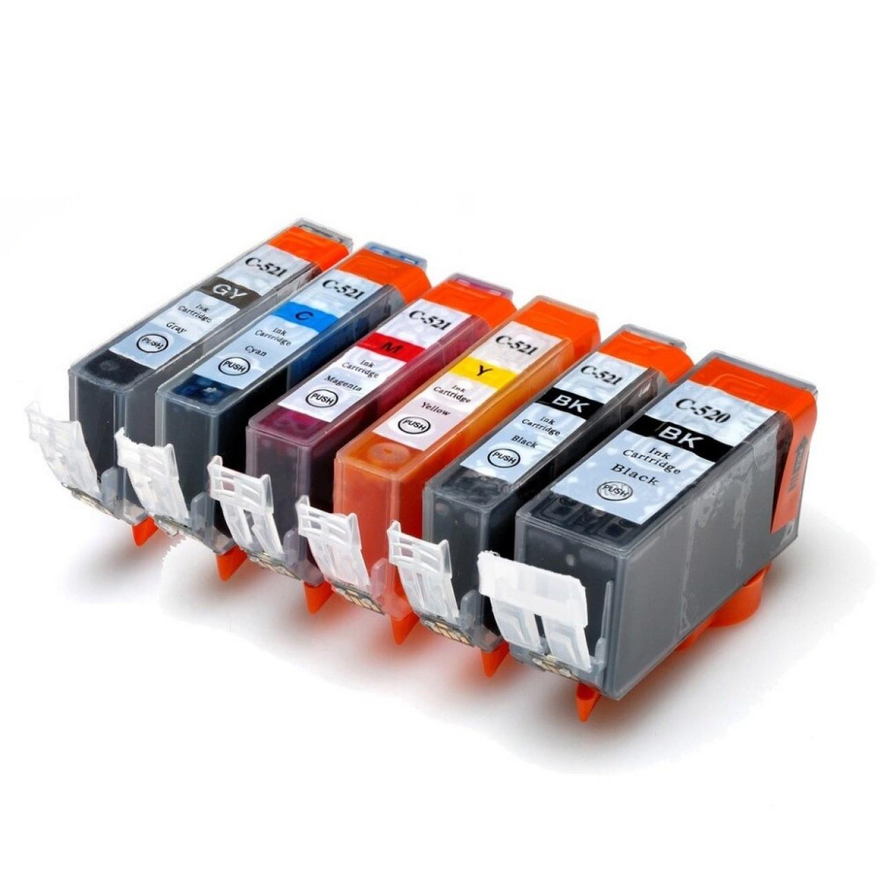 Μελάνια Canon Συμβατά - PF PGI520/CLI-521 Εξάδα/Pack για Pixma: iP3600, iP4600, iP4700, iP5200, iP7600  MP540,MP550, MP560, MP620, MP630, MP640, MP800, MP830  MP950, MP960, MP980, MP990, MX700, MX850, MX860, MX870