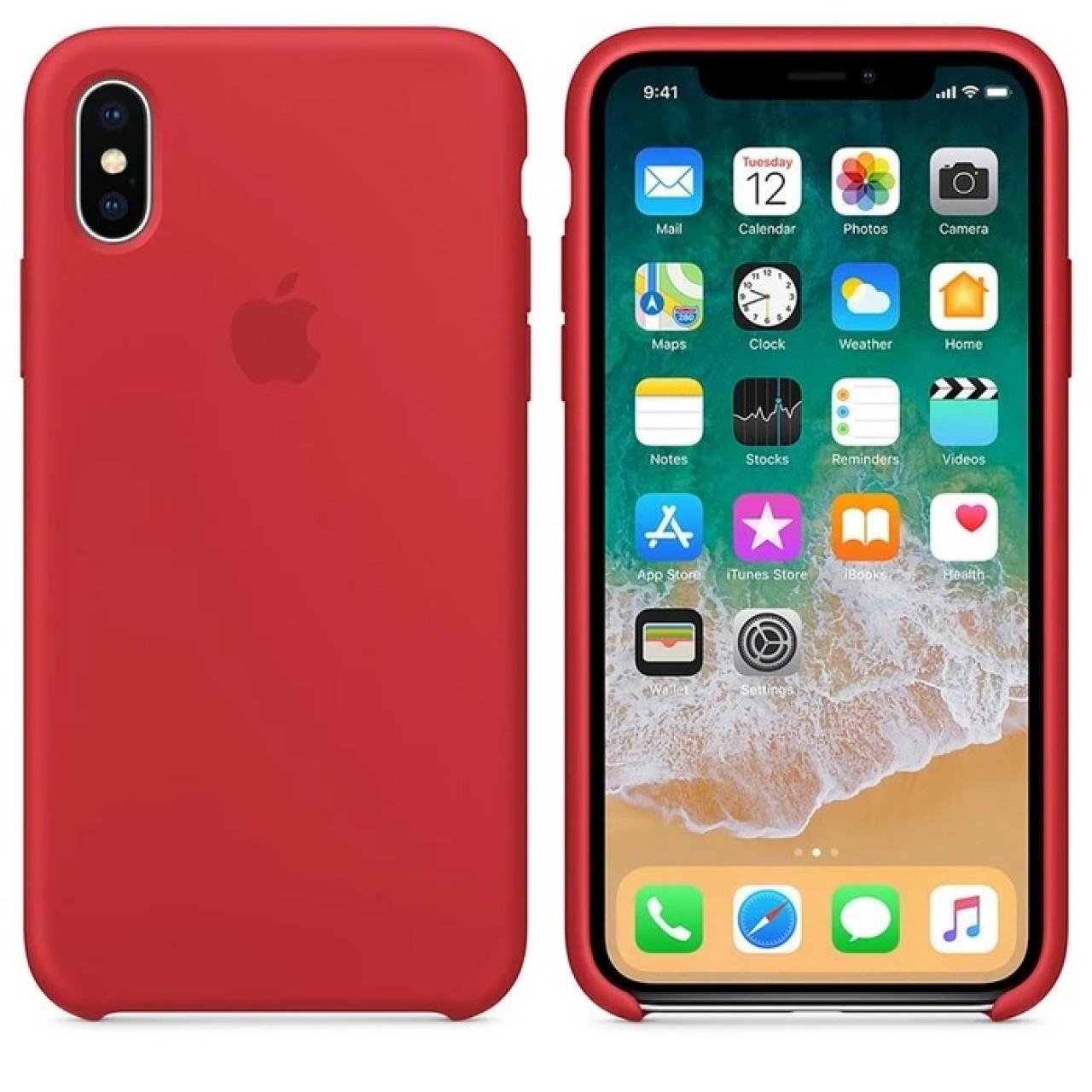 ΘΗΚΗ ΠΡΟΣΤΑΣΙΑΣ ΣΙΛΙΚΟΝΗΣ ΓΙΑ iPhone X / XS ΚΟΚΚΙΝΗ - BACK COVER SILICON CASE RED- OEM