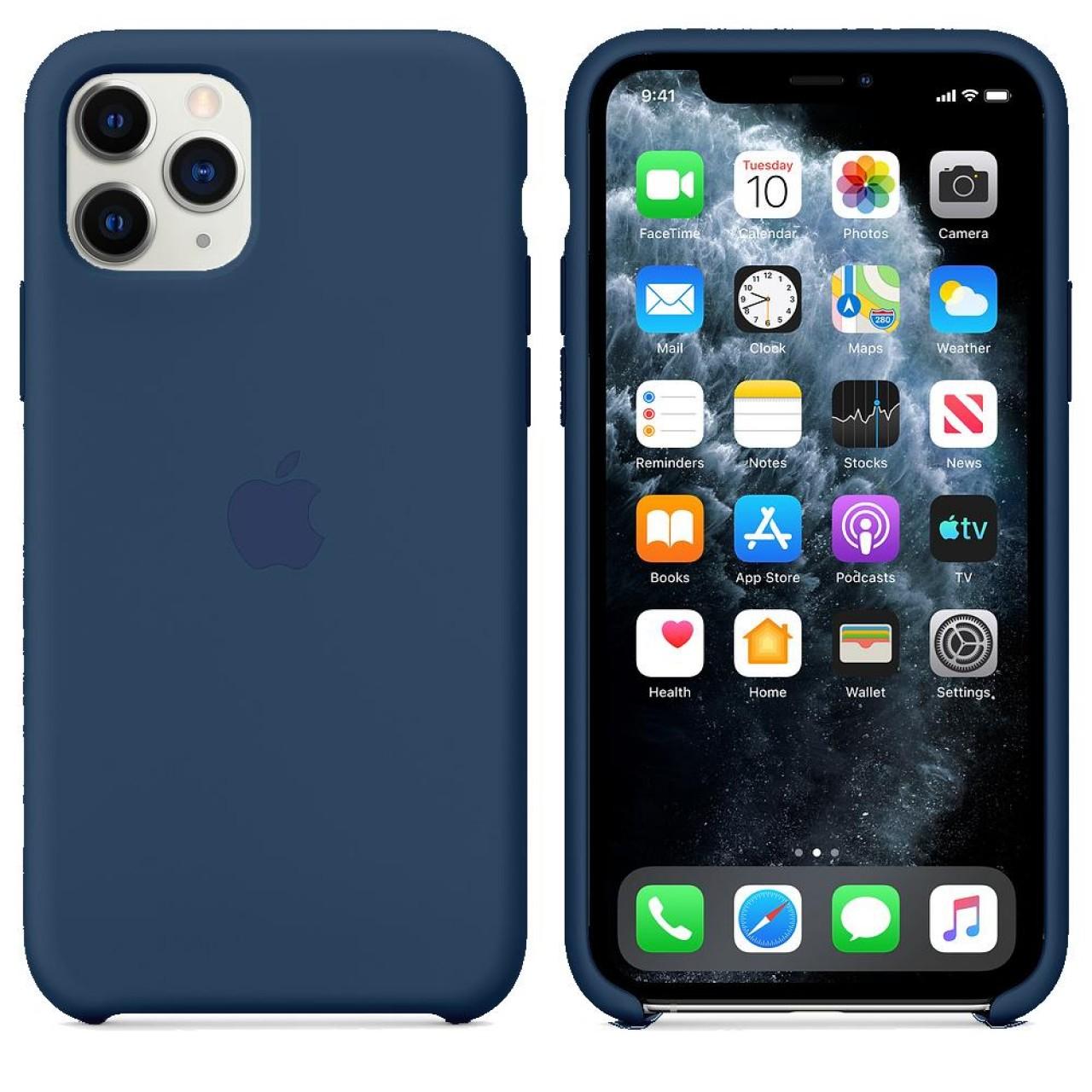 ΘΗΚΗ ΠΡΟΣΤΑΣΙΑΣ ΣΙΛΙΚΟΝΗΣ ΓΙΑ iPhone 11 PRO MAX ΜΠΛΕ - BACK COVER SILICON CASE NAVY BLUE - OEM