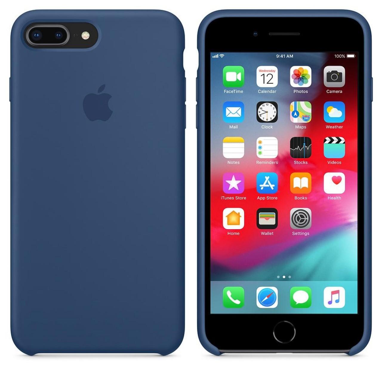 ΘΗΚΗ ΠΡΟΣΤΑΣΙΑΣ ΣΙΛΙΚΟΝΗΣ ΓΙΑ iPhone 7 / 8 PLUS ΜΠΛΕ - BACK COVER SILICONE CASE NAVY BLUE - OEM