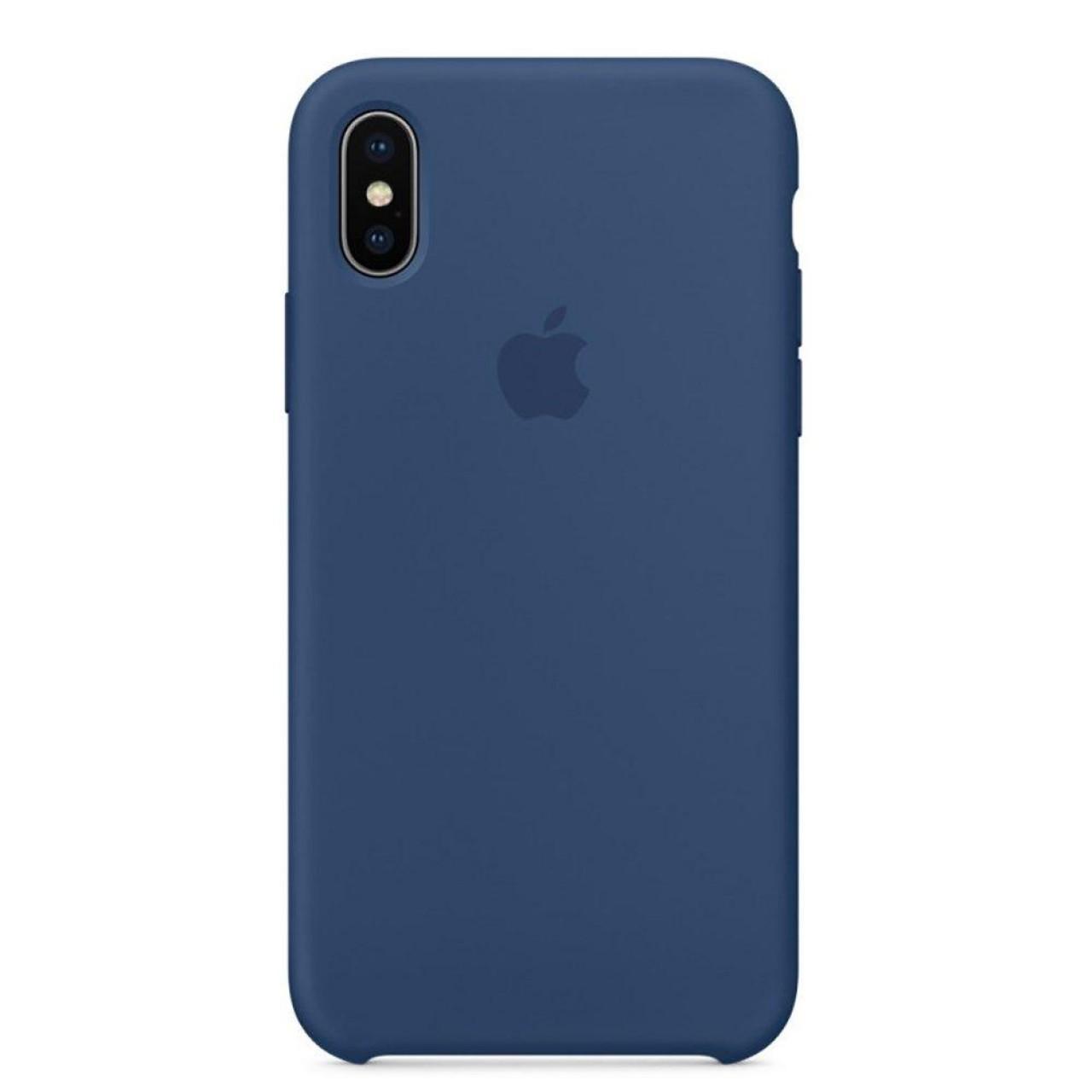 ΘΗΚΗ ΠΡΟΣΤΑΣΙΑΣ ΣΙΛΙΚΟΝΗΣ ΓΙΑ iPhone X / XS ΜΠΛΕ - BACK COVER SILICON CASE NAVY BLUE - OEM