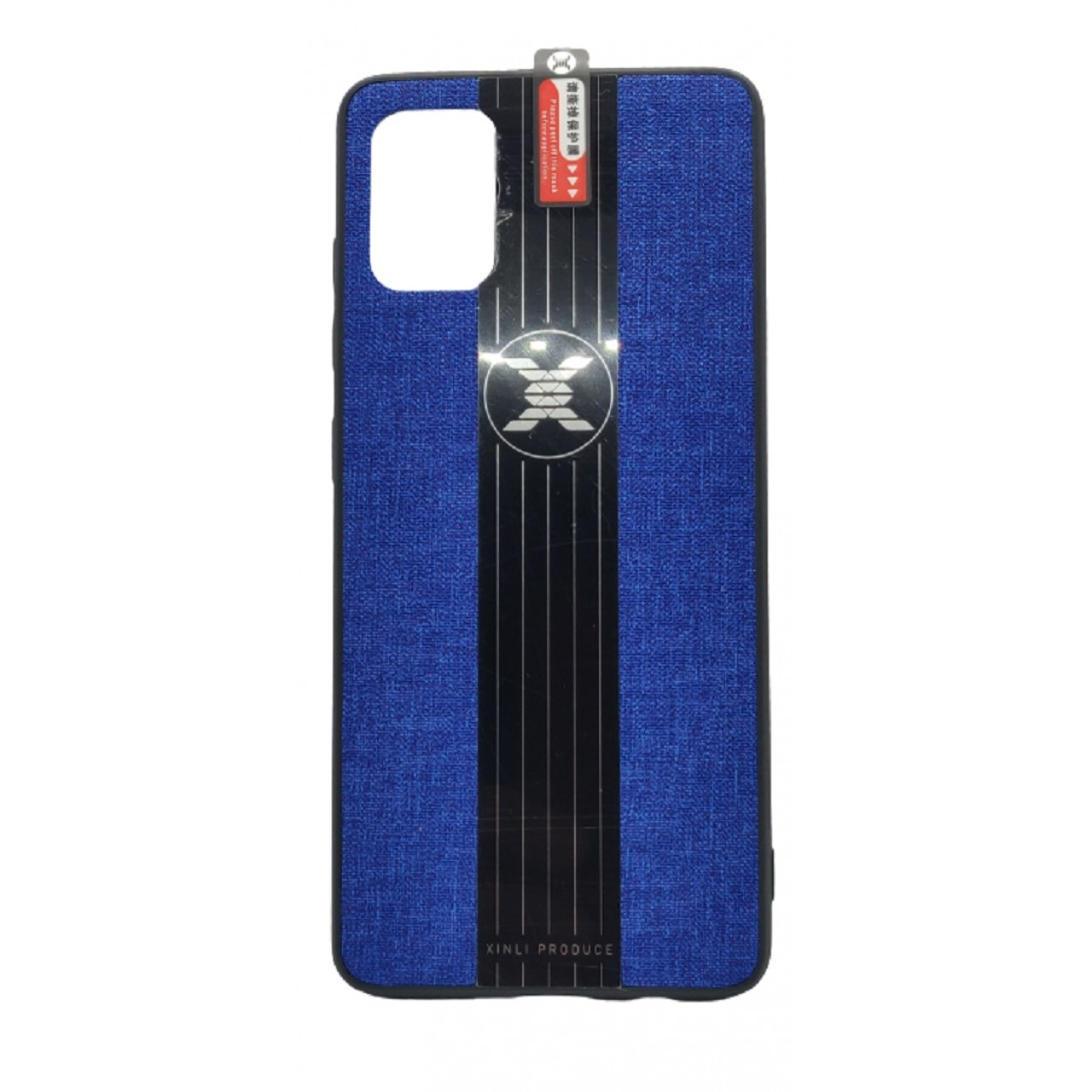 Back Case Cloth Pattern with ring for Samsung A51 Blue - Θήκη προστασίας με δαχτυλίδι στην πλάτη Μπλε - OEM