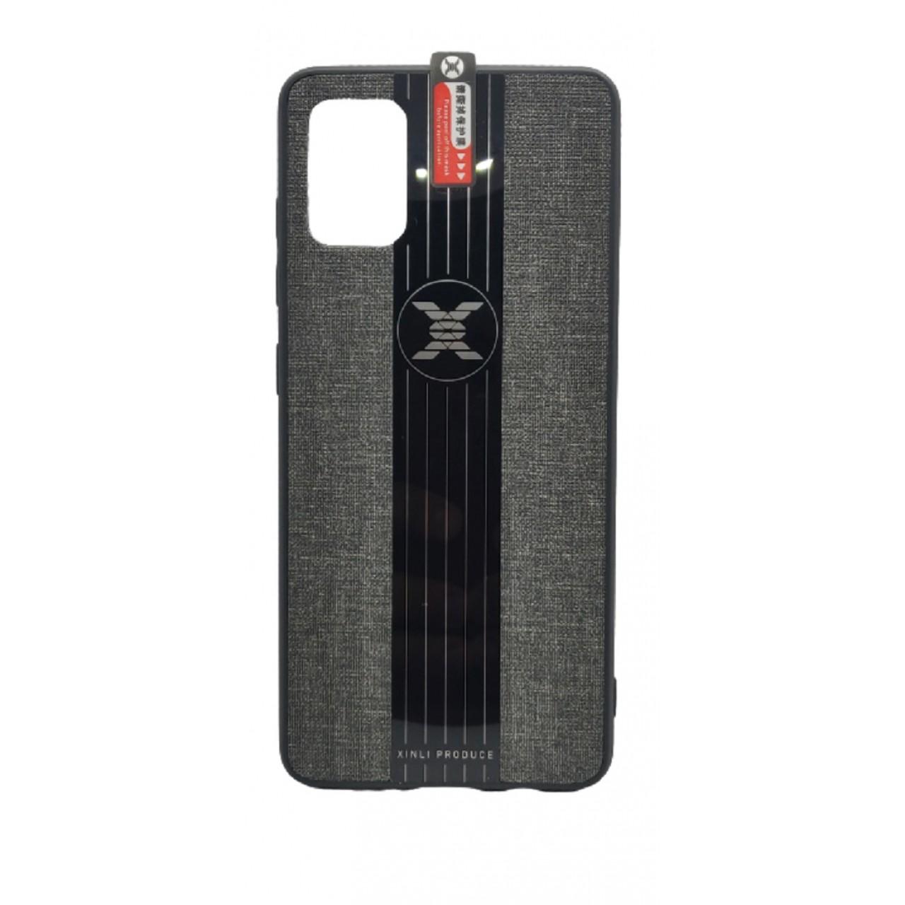 Back Case Cloth Pattern with ring for Samsung A51 Grey- Θήκη προστασίας με δαχτυλίδι στην πλάτη Γκρι- OEM