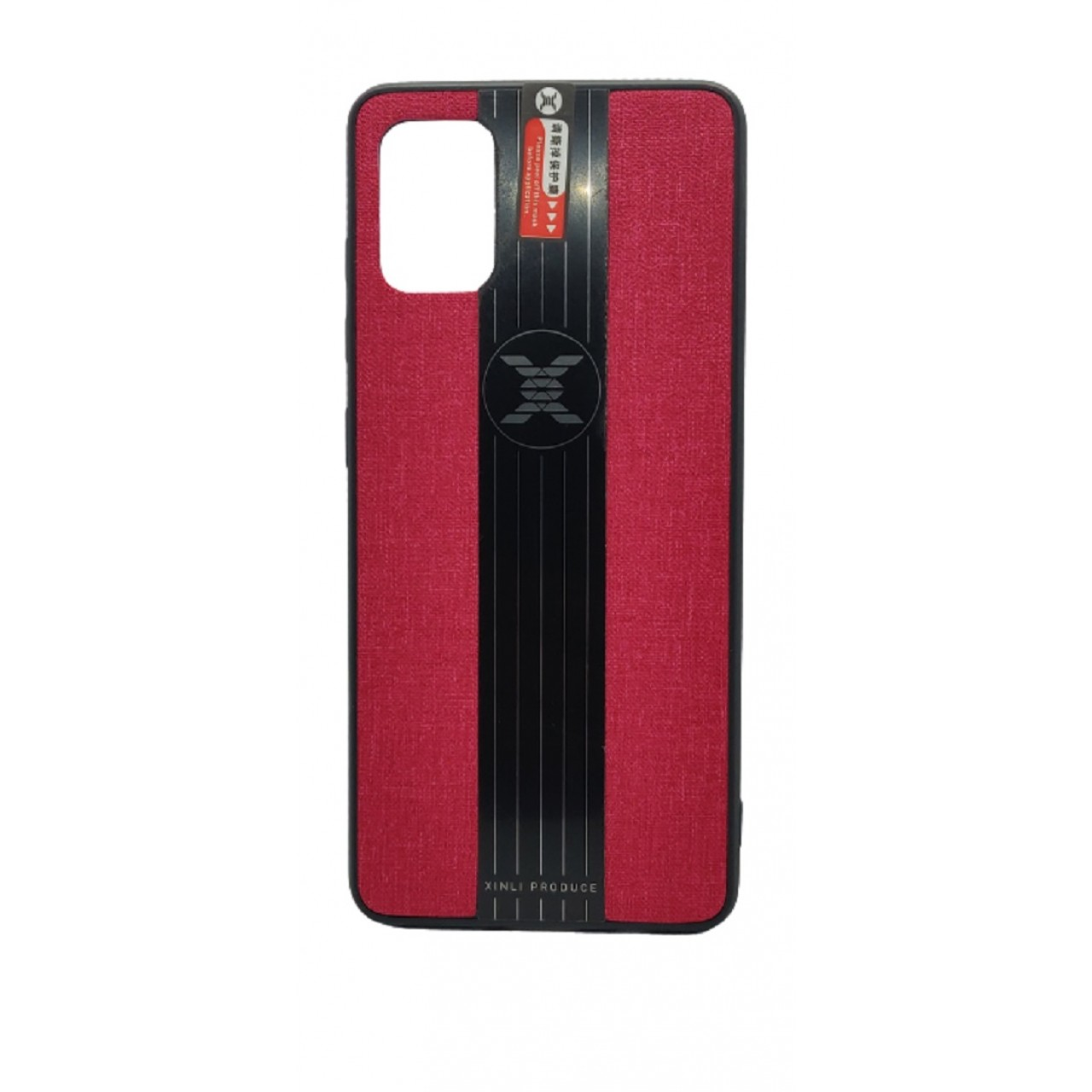 Back Case Cloth Pattern with ring for Samsung A51 Red - Θήκη προστασίας με δαχτυλίδι στην πλάτη Κόκκινη - OEM