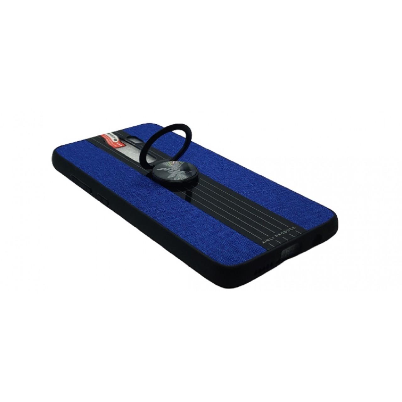 Back Case Cloth Pattern with ring for Redmi note 8 PRO Blue - Θήκη προστασίας με δαχτυλίδι στην πλάτη Μπλε - OEM