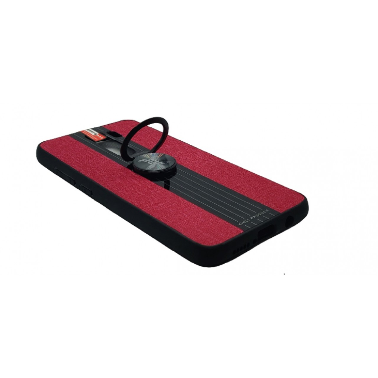 Back Case Cloth Pattern with ring for Redmi note 8 PRO Red - Θήκη προστασίας με δαχτυλίδι στην πλάτη Κόκκινη - OEM