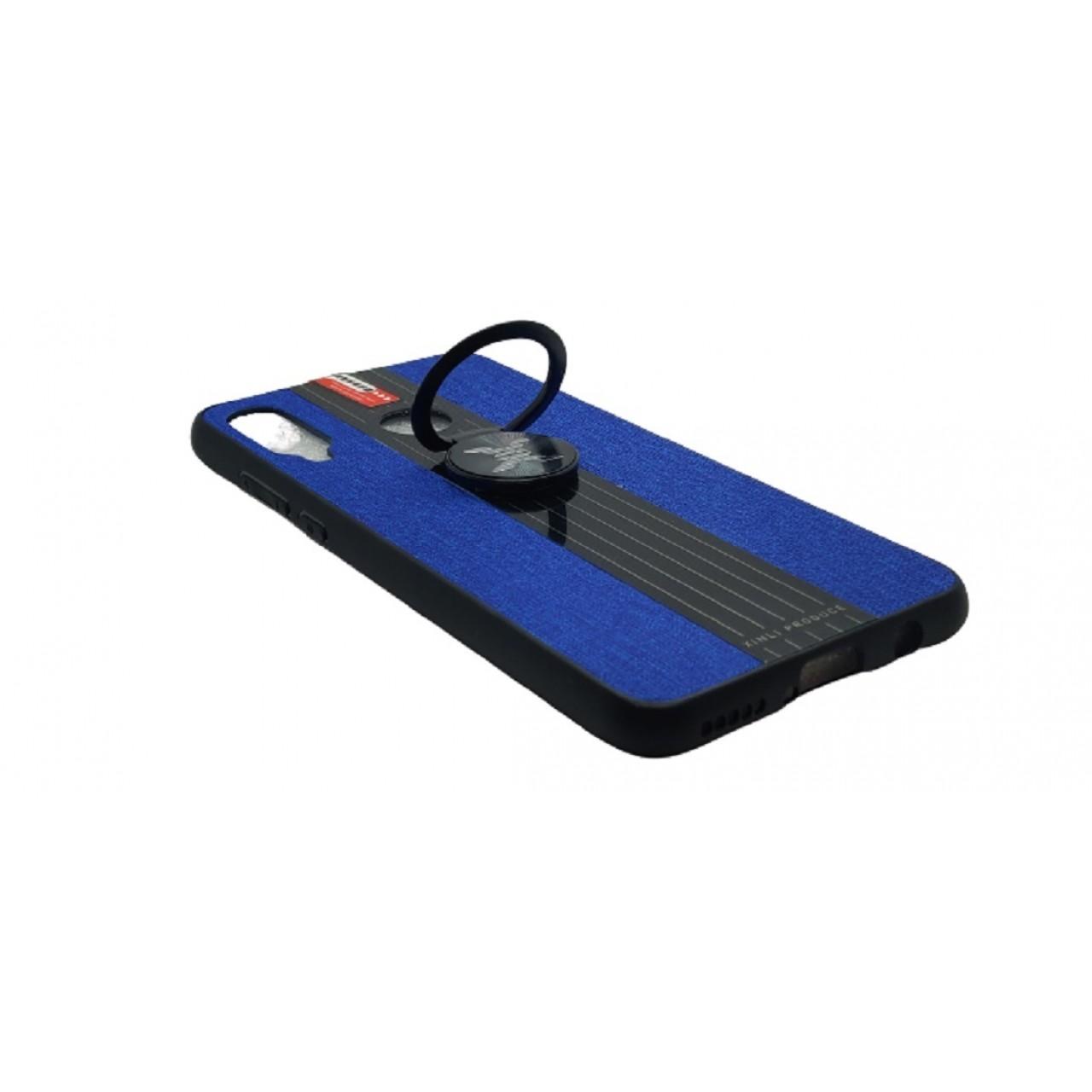 Back Case Cloth Pattern with ring for Huawei P30 Lite Blue- Θήκη προστασίας με δαχτυλίδι στην πλάτη Μπλε- OEM