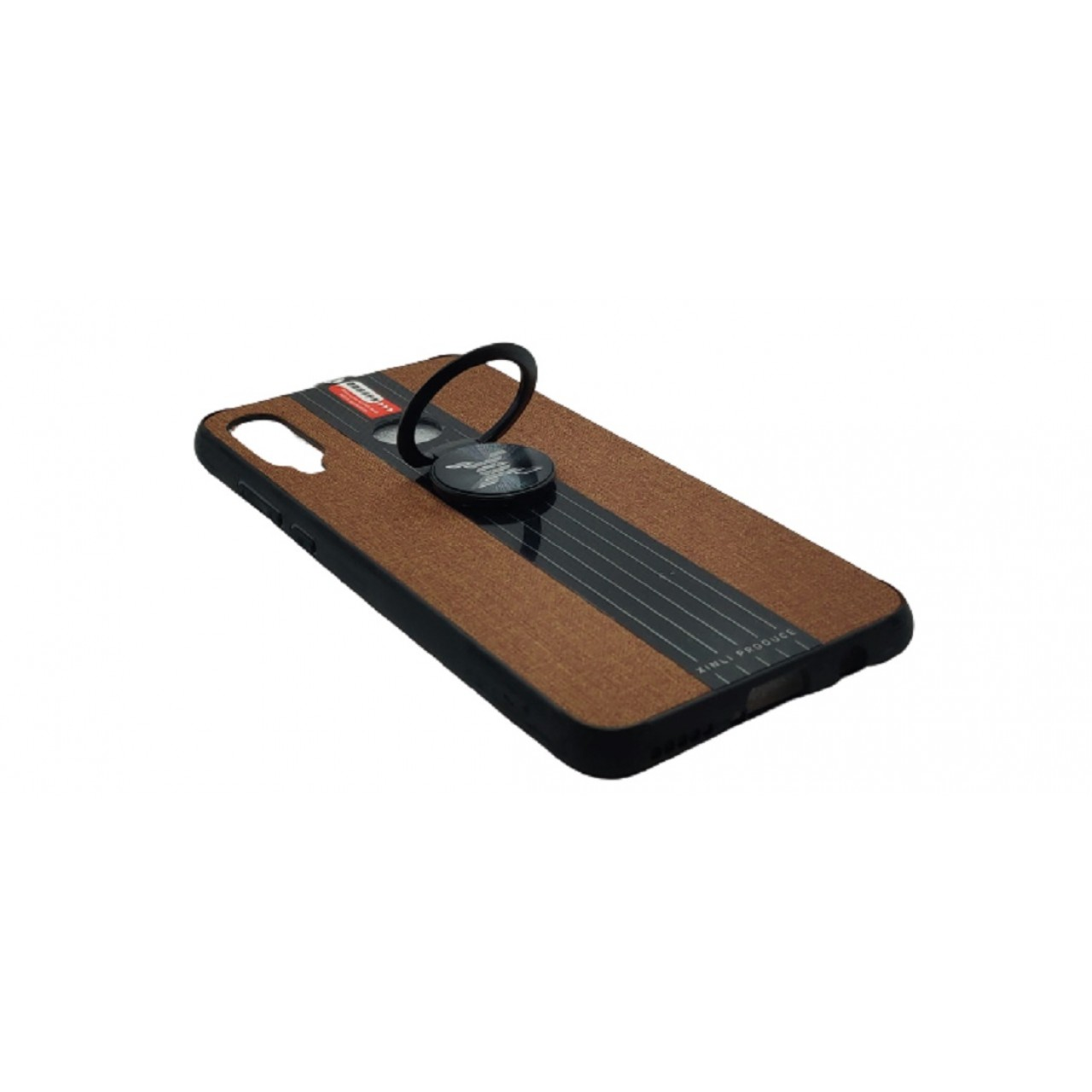 Back Case Cloth Pattern with ring for Huawei P30 Lite Brown - Θήκη προστασίας με δαχτυλίδι στην πλάτη Καφέ - OEM