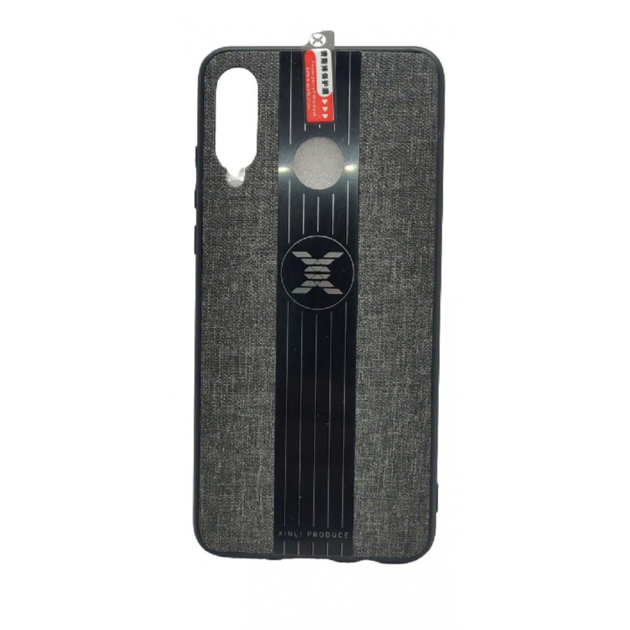 Back Case Cloth Pattern with ring for Huawei P30 Lite Grey - Θήκη προστασίας με δαχτυλίδι στην πλάτη Γκρι - OEM