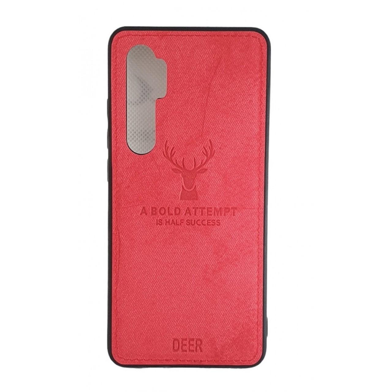 DEER CLOTH BACK CASE FOR XIAOMI Mi Note 10 Lite - RED