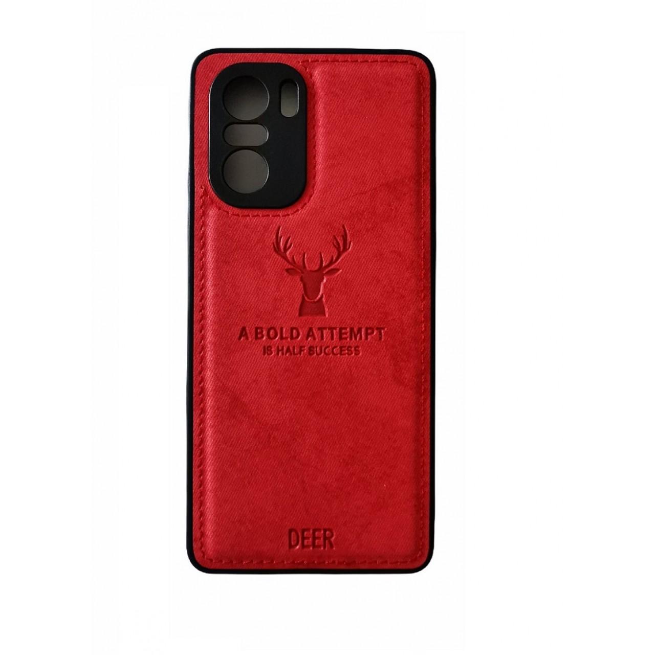 ΘΗΚΗ DEER CLOTH BACK CASE WITH CAMERA PROTECTION FOR POCO F3 - RED