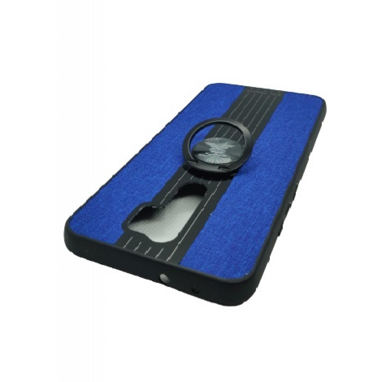 Back Case Cloth Pattern with ring Blue for Redmi 9 - Θήκη προστασίας με δαχτυλίδι στην πλάτη Μπλε - OEM