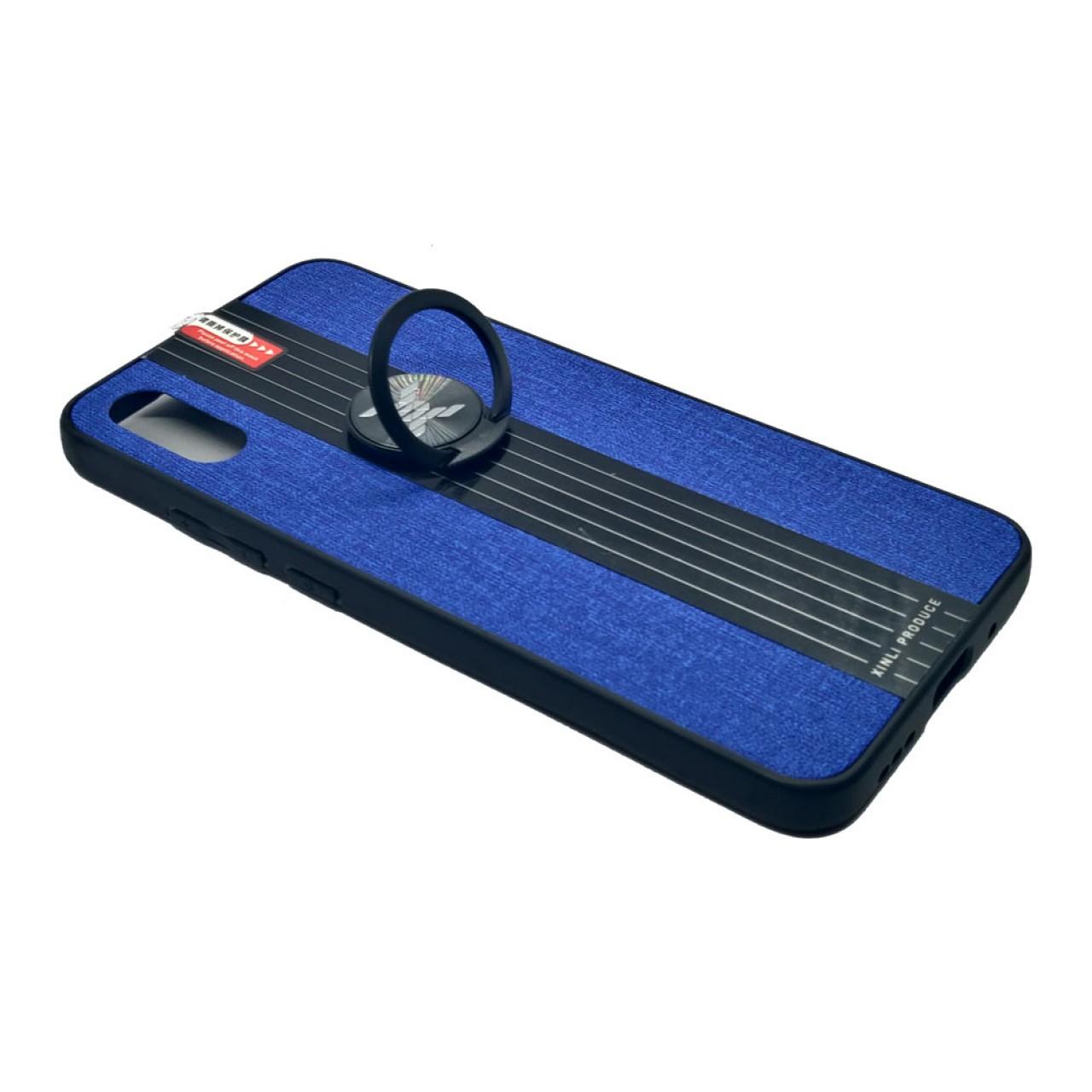 Back Case Cloth Pattern with ring Blue for Redmi 9A - Θήκη προστασίας με δαχτυλίδι στην πλάτη Μπλε - OEM