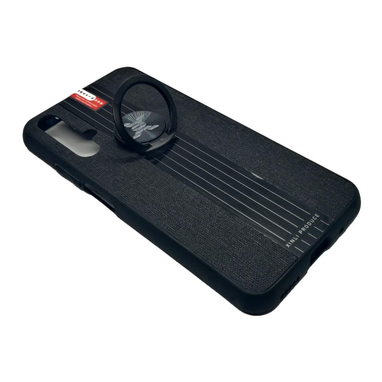 Back Case Cloth Pattern with ring Black for  Huawei Nova 5T - Θήκη προστασίας με δαχτυλίδι στην πλάτη Μαύρη - OEM