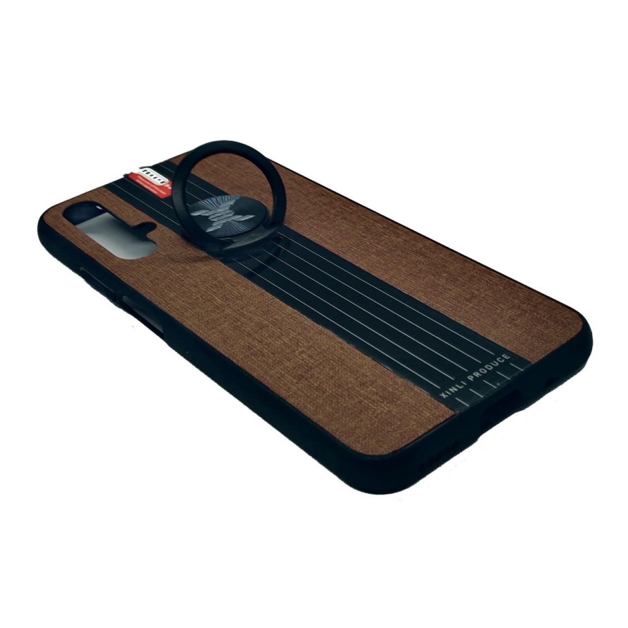 Back Case Cloth Pattern with ring Brown for  Huawei Nova 5T - Θήκη προστασίας με δαχτυλίδι στην πλάτη Καφέ - OEM